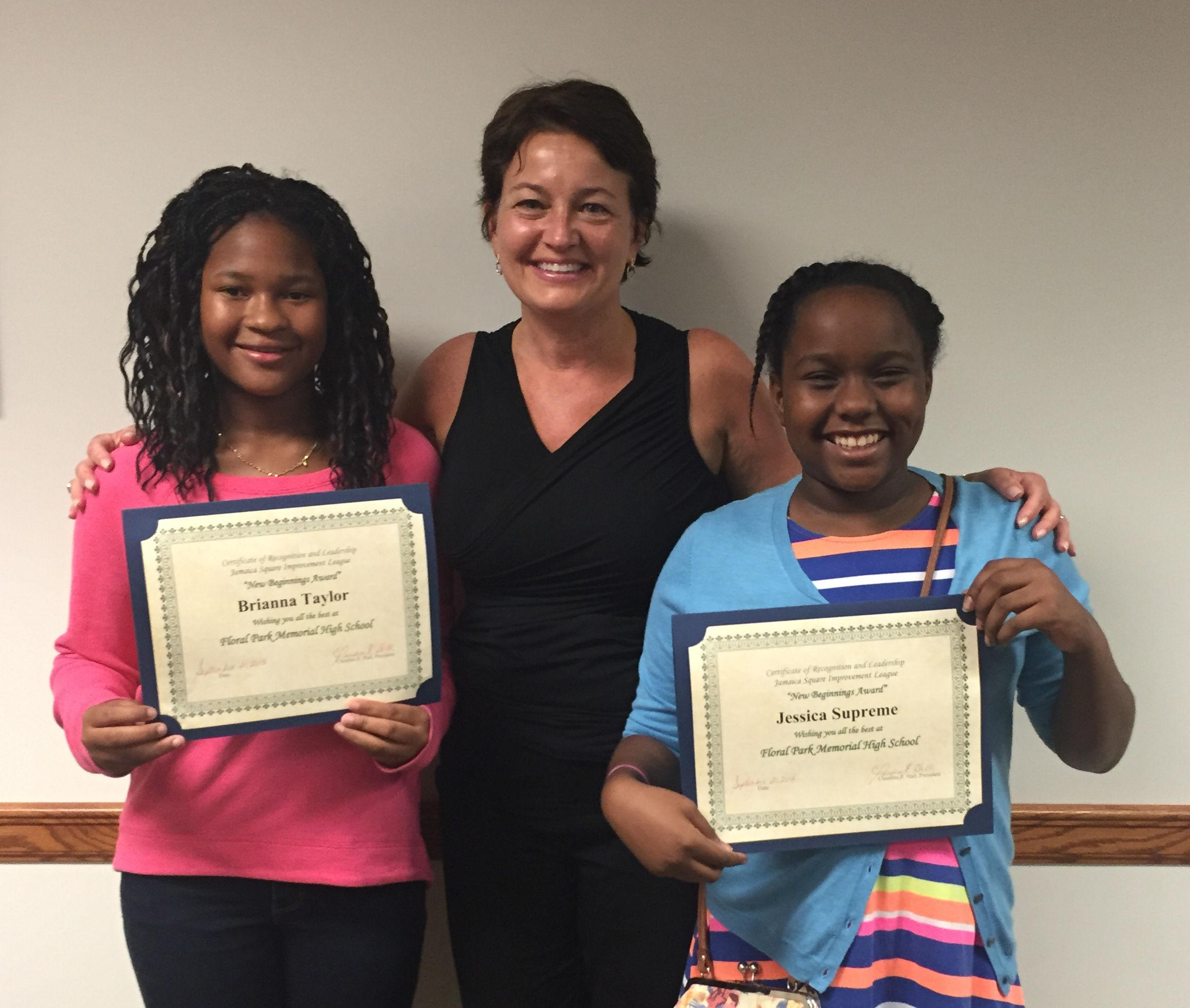 """Two Seventh Graders Receive """"New Beginnings"""" Award"""