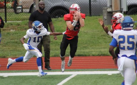 WR Michael Matich makes a leaping catch in Floral Park's 34-13 defeat to Roosevelt.